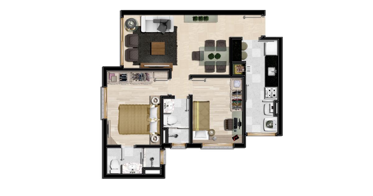 Apartamento 61m²